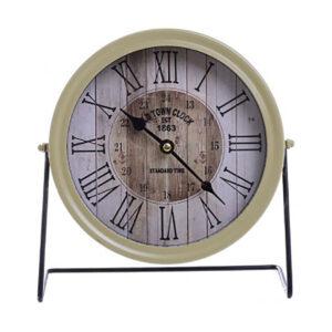 INART Ρολόι επιτραπέζιο μεταλλικό εκρού/μαύρο χρώμα 3-20-773-0321