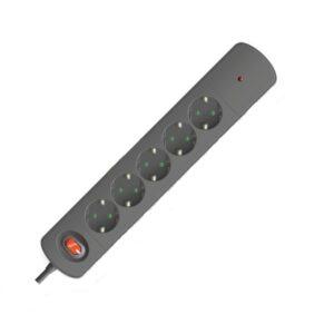 Πολύπριζο Spotlight 7018 Ασφαλειας surge protector 5 θέσεων μαύρο 1.4m καλώδιο
