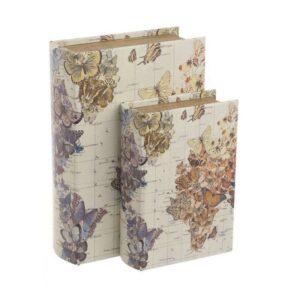 Κουτί - Βιβλίο Σετ 2τμχ Πεταλούδες 3-70-106-0037 19Χ7Χ27 Multi Inart