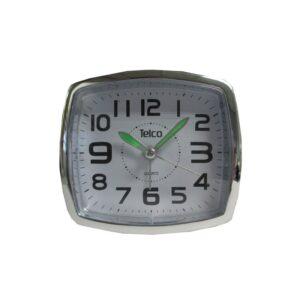 Αναλογικό ρολόι με φως μαύρο ασημί πλαστικό 6119 TELCO
