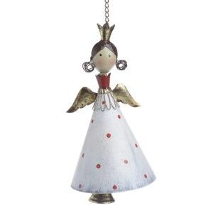 Άγγελος κρεμαστός μεταλλικός λευκός/χρυσός Δ15x28/66cm Inart 2-70-627-0009