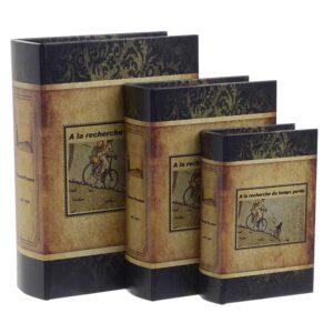 Κουτί/Βιβλίο Σετ Των 3 Inart 3-70-106-0013