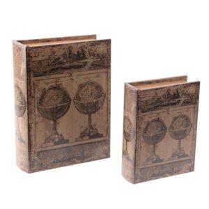Κουτί-Βιβλίο Ξύλινο-Pu Σετ 2τμχ 3-70-939-0068 Υδρόγειος Brown 20Χ7.5Χ27