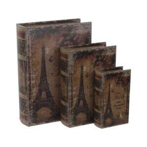 Κουτί-Βιβλίο Σετ 3τμχ 3-70-939-0003 Eiffel 22X8X30 Inart Τεχνόδερμα
