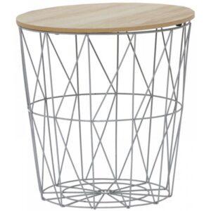 Τραπέζάκι βοηθητικό μεταλλικό ασημί/natural 40x40εκ Click 6-50-094-0003