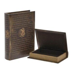 Κουτί - Βιβλίο 3-70-106-0043 Σετ 2τμχ PU 19Χ5Χ27 Brown Inart