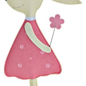 Λαγουδάκι τσόχινο σε ξύλινη βάση ροζ 40εκ 446122-2