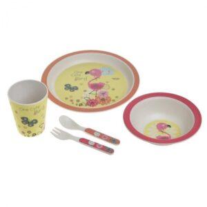 Inart 6-60-066-0011 Παιδικό Σετ Φαγητού 5 Τεμαχίων Pink-Purple