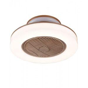 OROSHI Ανεμιστήρας – φωτιστικό οροφής LED τηλεχειριζόμενος με 3 ταχύτητες σε λευκό με καφέ χρώμα 02-00173