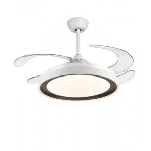Ανεμιστήρας – φωτιστικό οροφής τηλεχειριζόμενος με 6 ταχύτητες σε λευκό με καφέ χρώμα 02-00175