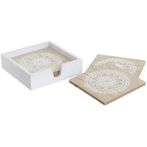Inart 3-70-686-0056 Σουβέρ Σετ Των 6 White-Ivory, Natural-Beige 11x4x11 inart