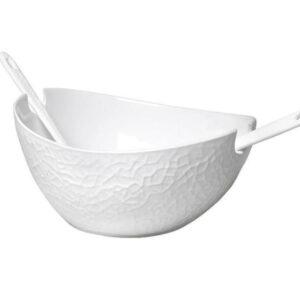 Σαλατιέρα Λευκή Με Κουτάλες Espiel 29χ25χ14εκ.-WEM703