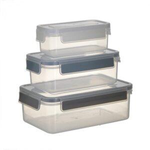 Inart Δοχεία Τροφίμων Πλαστικά Σετ Των 3 CLICK 6-60-560-0124
