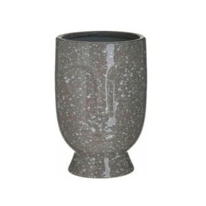 Inart Διακοσμητικό Βάζο Κεραμικό Πρόσωπο Γκρι 15x15x23cm Κωδικός: 3-70-685-0242