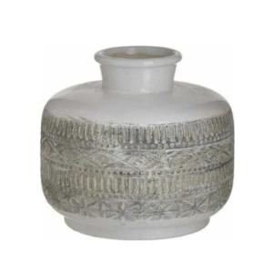 Inart Διακοσμητικό Βάζο Κεραμικό Μπεζ-Λευκό 18x18x18cm Κωδικός: 3-70-685-0227