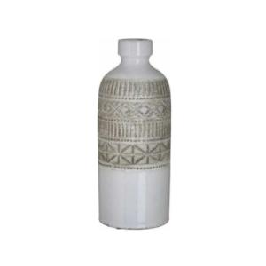 Inart Διακοσμητικό Βάζο Κεραμικό Λευκό-Μπεζ 14x14x37cm Κωδικός: 3-70-685-0225