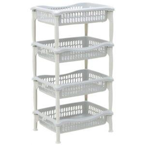 Μανάβης τρόλλεϋ πλαστικός 4 θέσεων γκρι/λευκό 44x85εκ 6-50-886-0013